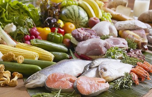 Variety of fish, meats, vegetables, and fruits