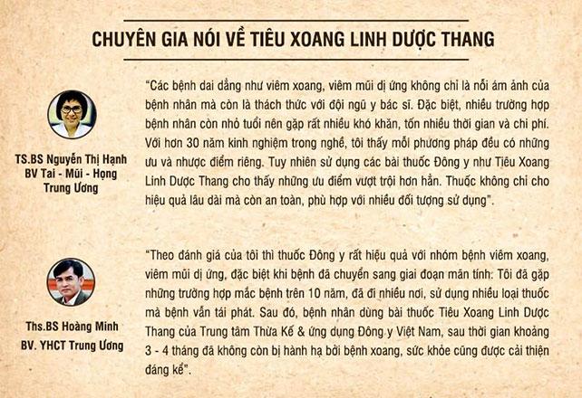 Chuyên gia nói về bài thuốc Tiêu Xoang Linh Dược Thang