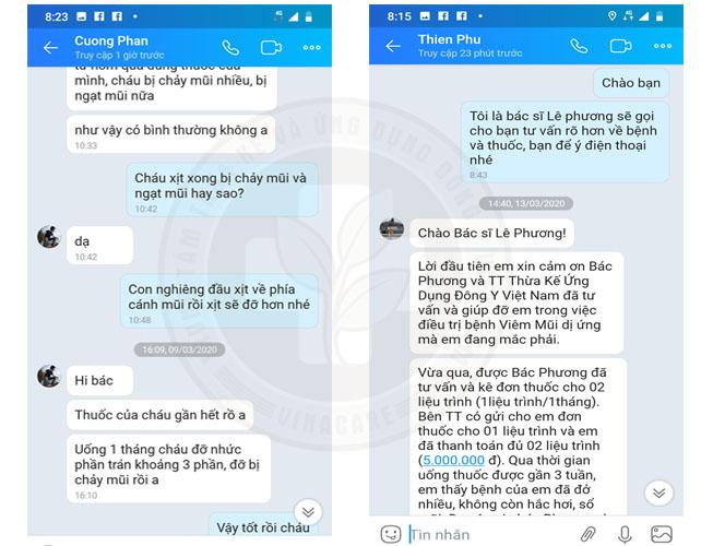 Feedback của bệnh nhân bị viêm mũi dị ứng gửi về Trung tâm Đông y Việt Nam