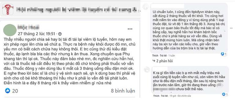 Bệnh nhân phản hồi về Phụ Khang Tán trên Facebook