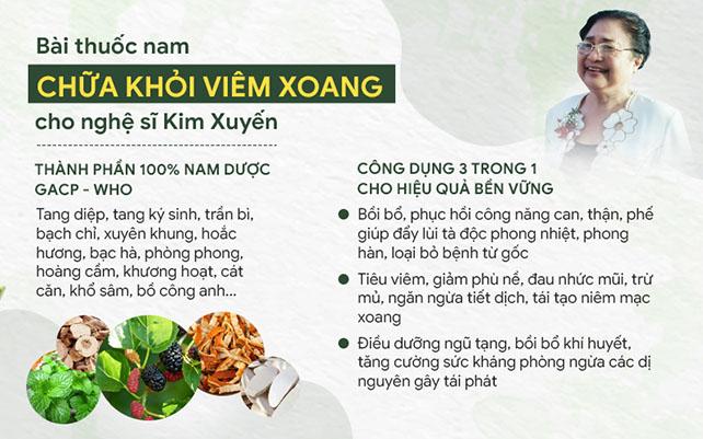 Bài thuốc nam chữa viêm xoang cho nghệ sĩ Kim Xuyến có công dụng đa dạng